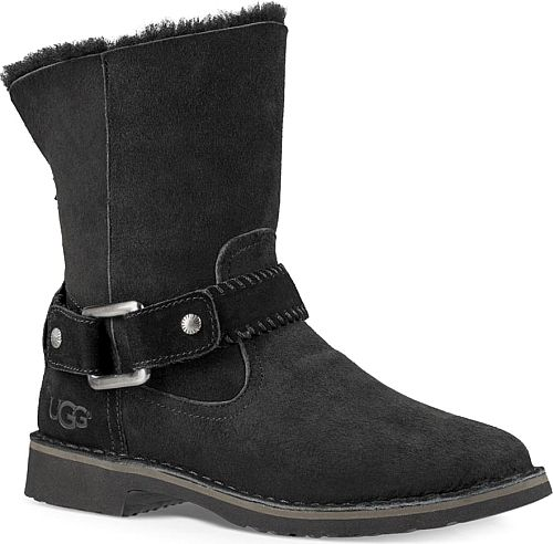 UGG Women's Shoes in Chestnut Color. UGGpure wool lined boots can be rolled  down to expose the fur. Round toe. Leather upper. Ankle buckle strap accent.