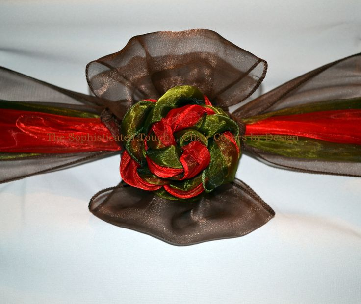 Chocolate Brown, Red and Sage Green Organza Bows on White Chair Covers.   The Sophisticated Touch ...Chair Covers by Design