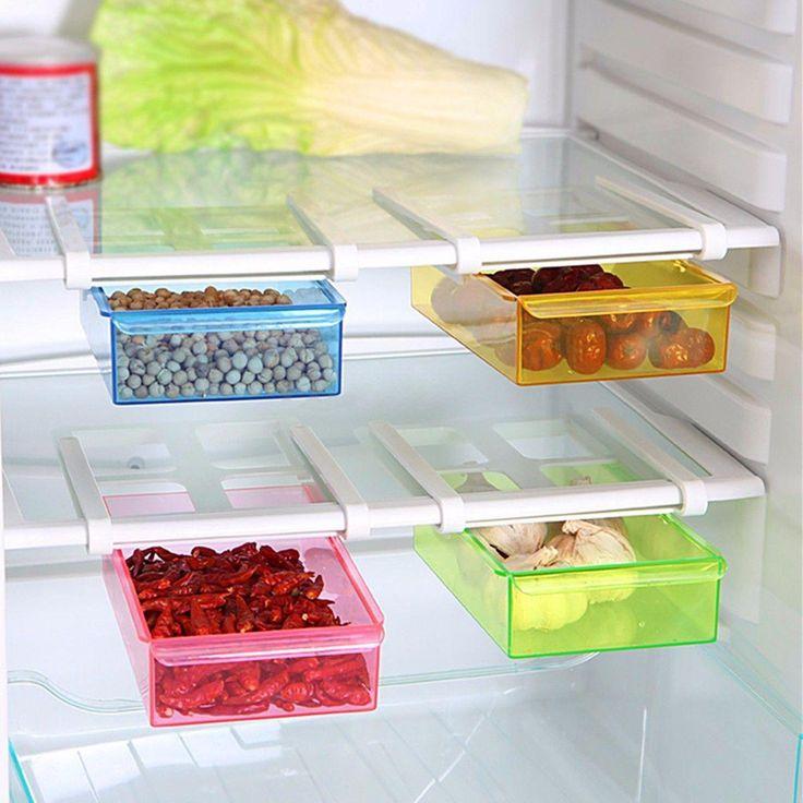 4 цвет слайд кухня холодильник морозильник организатор пространстве заставки для хранения ящик для хранениякупить в магазине Enjoy ShopingнаAliExpress