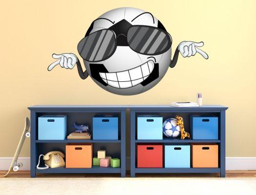 Amazing Wandtattoo Fu ball mit Gesicht und Sonnenbrille f r Kinder