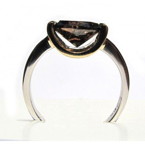 Cognac Diamond Ring, 1.9ct stunning dark cognac diamond on yellow gold and platinum.