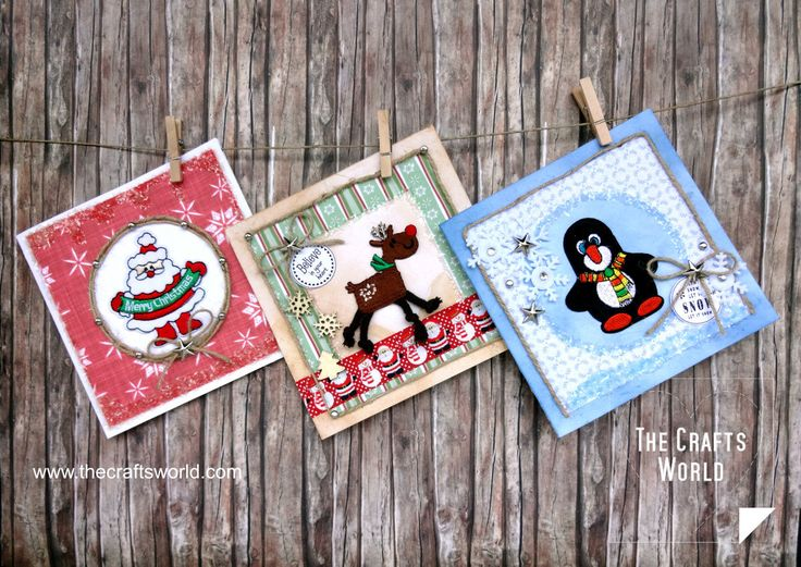 Handmade Christmas cards with iron on patches
