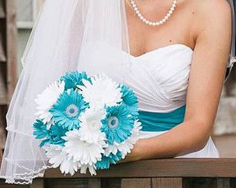 15 Piece Daisy Bridal Bouquet Wedding Bouquet Set Malibu Blue White Bouquet, Maliblu Blue Wedding, Malibu Blue Bouquet