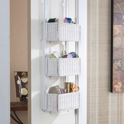 Southern Enterprises White Over The Door 3 Tier Basket Storage