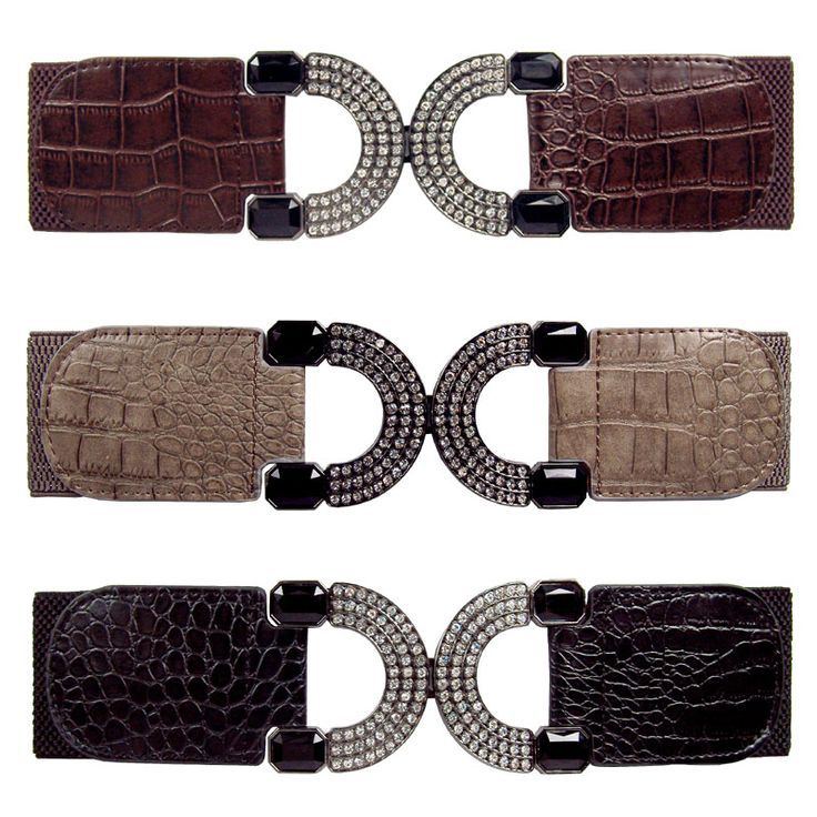 Elastic belt with D ring metal buckle with diamantes