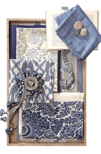 soothing. elegant beachy feel. classic and modern (the chevron fabric and blue stripe). the book is a nice touch.