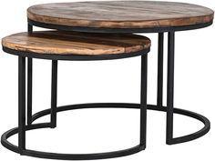 Salontafel set Brook uitgevoerd met metalen onderstel en blad uit mango hout, bestaande uit 2 ronde salontafels Ø76-45(h) + salontafel Ø56-40(h) € 315,-- bij Lowik