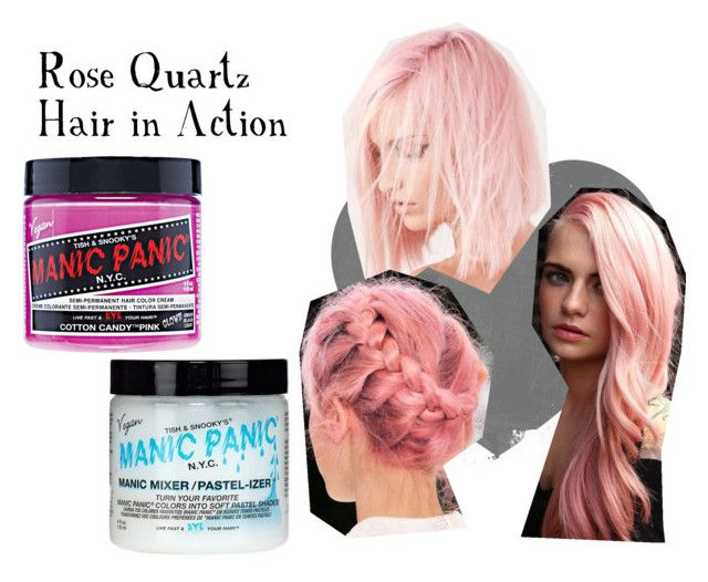 """Rose Quarts Hair in Action"" by manic-panic-uk ❤ liked on Polyvore featuring beauty and Manic Panic NYC"