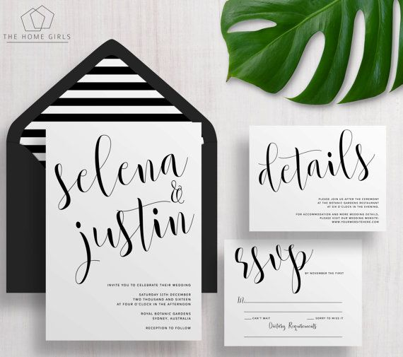 Printable Wedding Invitation Suite Calligraphy / Black and White / Invitation Set / Save the Date / Custom / Download / Selena Suite