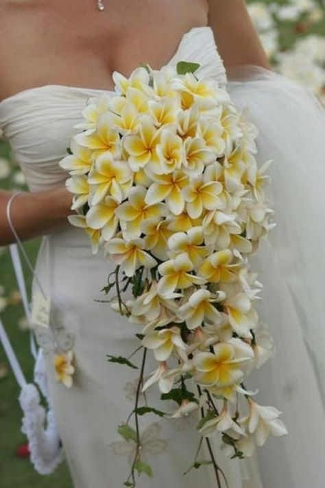 Cascading plumeria wedding bouquet / http://www.deerpearlflowers.com/cascading-wedding-bouquets/