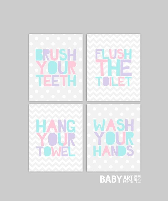 Girl Bathroom Prints Brush Flush Wash Hang Set of by babyartprints, $35.00