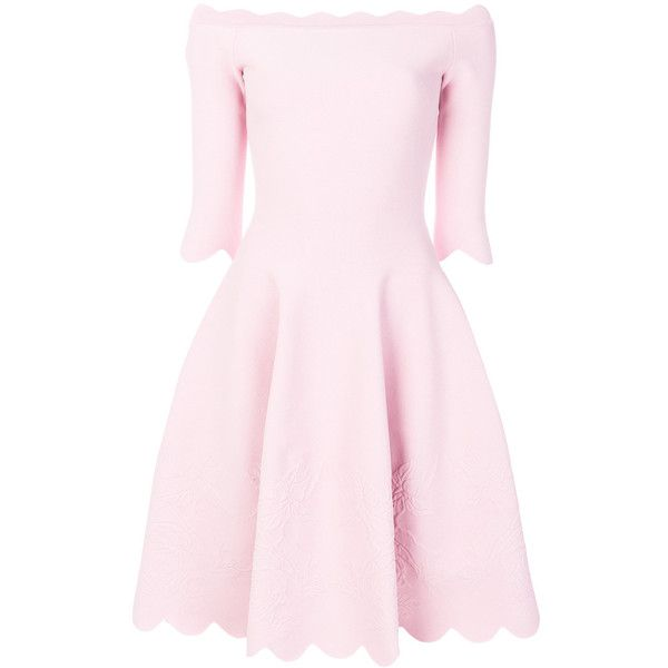 Alexander McQueen off-shoulder scalloped dress ($2,400) ❤ liked on Polyvore featuring dresses, short floral dresses, pink scalloped dress, pink dress, 3/4 sleeve dresses and off-shoulder dresses