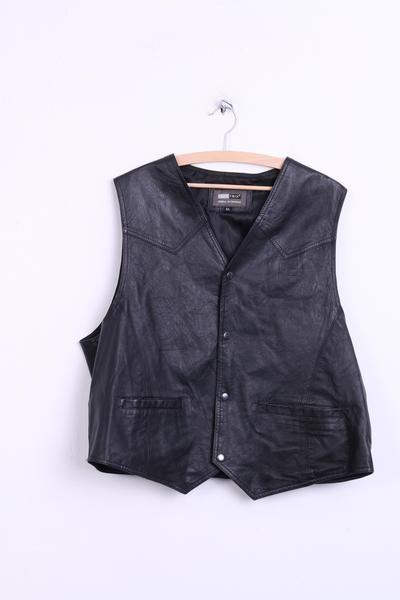 AVIATRIX Mens XL Vest Waistcoat Leather Black Original Outerwear - RetrospectClothes