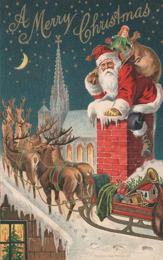 British Christmas Card Colour Litho By English School