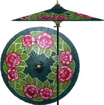 Summer Roses (Forest Green) - asian - outdoor umbrellas - Oriental Decor