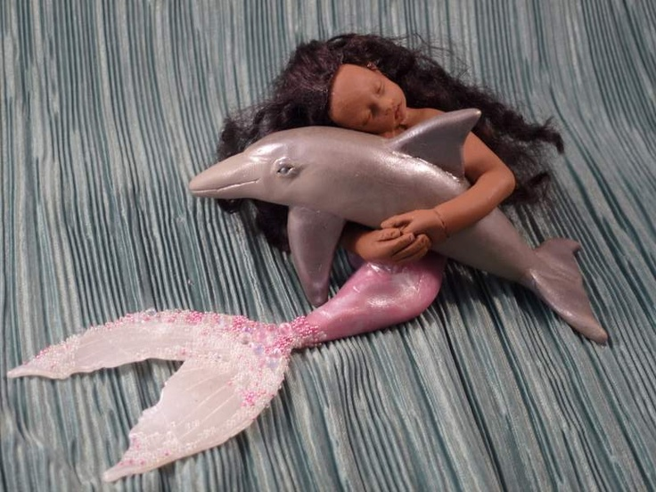 Handmade one-of-a-kind polymer clay mermaid and dolphin by Mermaids Dreaming  www.facebook.com/mermaidsdreaming