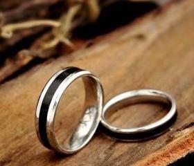 Black Stainless Steel Wedding Rings - Wedding Bands - Couple Rings - Promise Rings