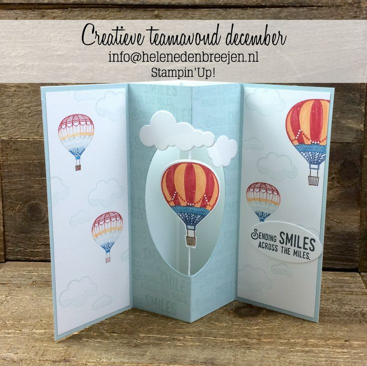 handmade greeting card by Helene den Breejen ... tunnel card format with a hot air balloon hanging in the center ... wonderful card ... Stampin' Up!