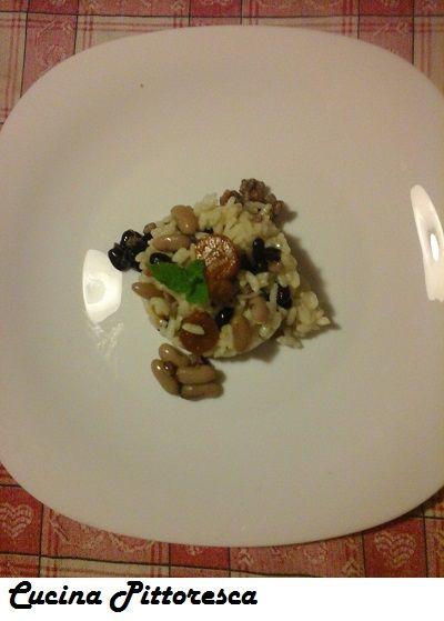 riso ai fagioli neri e bianchi con verdure
