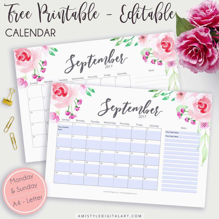 Editable Printable Calendar Planner for 2017 September