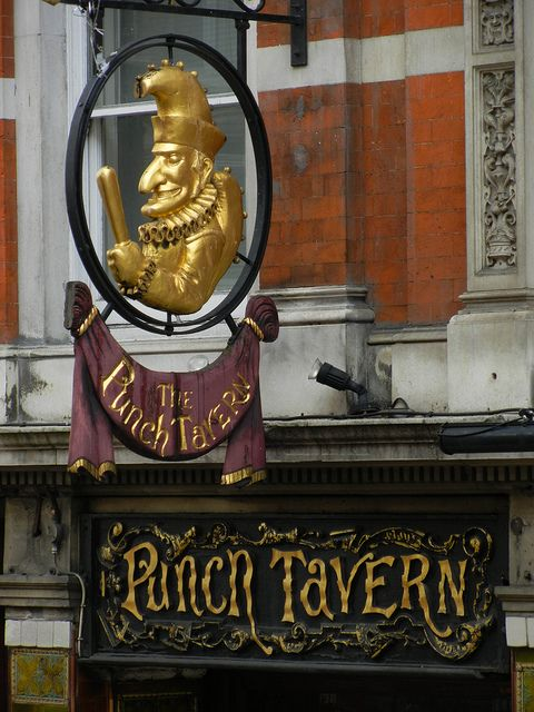 Punch Tavern, Fleet Street, London - Punch, the satirical magazine, was founded in 1841 at the Edinburgh Castle Tavern on the Strand. However as the entire magazine's staff began to meet at this pub, the proprietor changed its name from the Crown and Sugar Loaf to 'The Punch Tavern'. There has been a pub on this site since the 17th century it was re-fitted in 1893-97. It was finished at the time of Queen Victoria's Diamond Jubilee, when she drove past on her way to St Paul's.