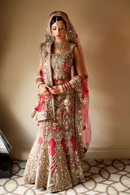Very classic, might be a little too heavy but I love the style and color! Indian bridal Lehenga.  #indianwedding.