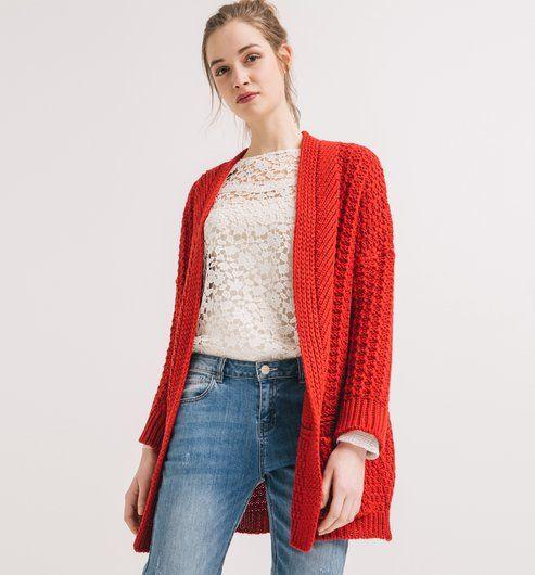 Long gilet Femme rouge - Promod
