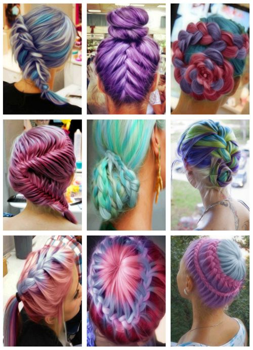 Braids Through Brightly Colored Hair Erika Loves Doing Bright Color Like This Call To Make An Ointment With Her For A Pop Of Fun Colors