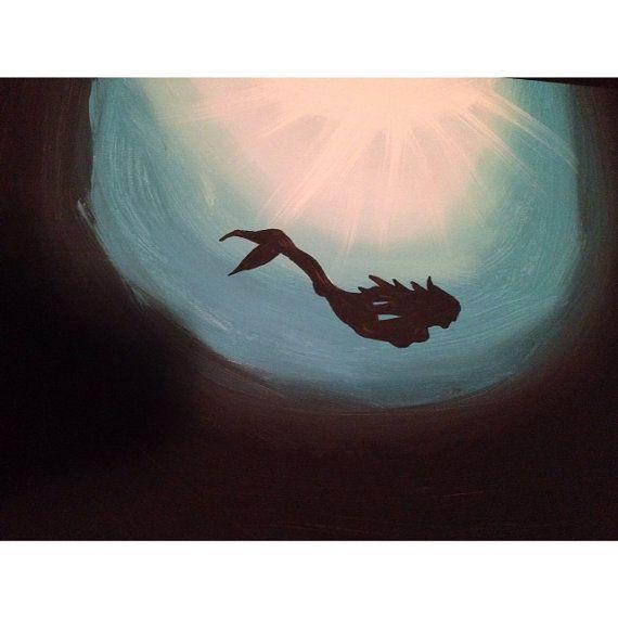 Deep Ocean Mermaid Canvas Painting by KollegeKidKrafts on Etsy