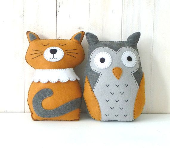 The Owl and the Pussycat Stuffed Animal Hand-Sewing PATTERNS, Felt Cat & Owl Plushie Patterns, Yellow and Gray