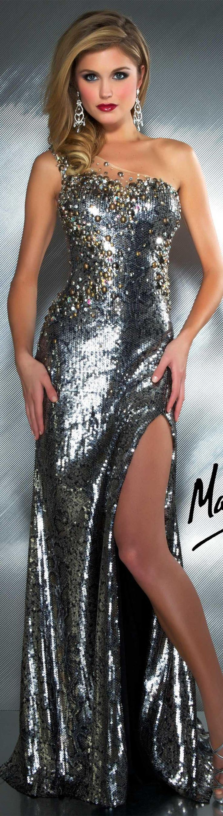 Mac Duggal couture dress charcoal long formal one shoulder dress ~ glitter MAC DUGGAL PROM  STYLE 81813M
