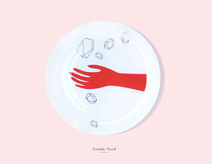 Secon Life of Plates / GREEDY HAND / Lapinska Porcelain /  www.lapinska-porcelana.com plate porcelain lapinska