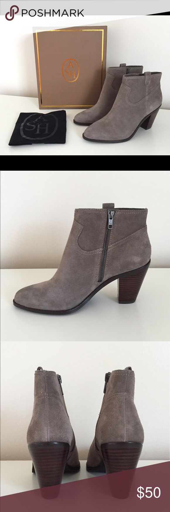 New Ash Suede Ankle Boots Ash suede ankle boots. New in box, includes original dust-bag and shoe box. Size: US 10/ EU 40/UK 8 . Heel height: 3.5 Ash Shoes Ankle Boots & Booties