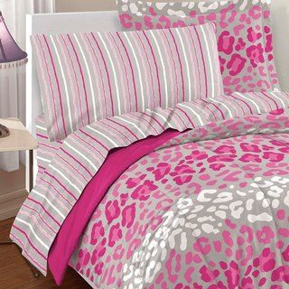 Safari Girl 7-piece Bed in a Bag with Sheet Set pink white and gray leopard print. perfect for a little girls room