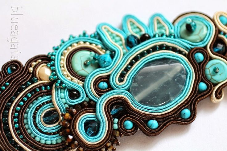 blueagata: Turquoise soutache bracelet with agate