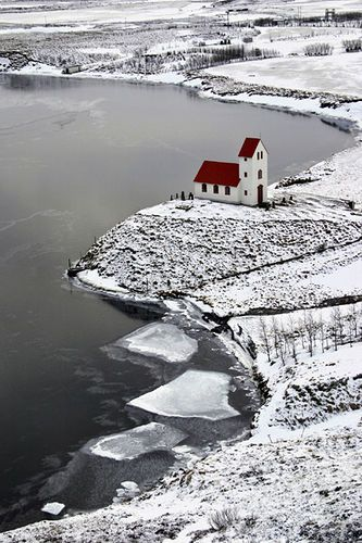 Cold but peaceful ... This beautiful church is in Iceland by a lake called Úlfljótsvatn.