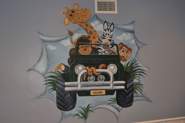 7 best images about baby nursery ideas on pinterest for Baby jungle mural