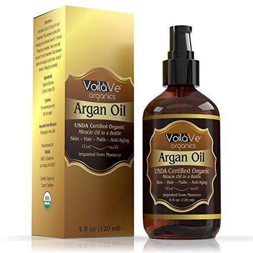 Virgin USDA Organic Moroccan Argan Oil for Hair & Skin 4 fl. oz. USDA & ECOCERT Certified Cold-Pressed Unrefined 100% Pure Argan Oil for Skin Hair & Nails  Convenient Pump Bottle