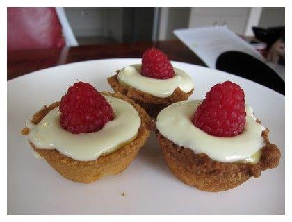 Raspberry and White Chocolate Caramel Tarts