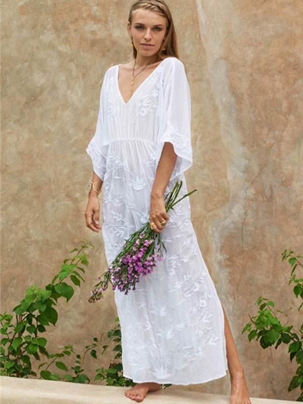 2ecf1ef842 Sexy V-neck Embroidered Beach Maxi Dress