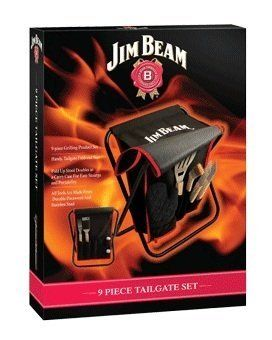 Jim Beam JB0103 9-Piece Tailgating Stool with Grill Tools Set by Style Asia. Save 65 Off!. $44.95. Includes Handy tailgate fold-out seat. Tools made from stainless steel and durable parawood. 9-Piece grilling set designed for the tailgate enthusiast. Includes: Spatula with bottle opener, Tongs, Three prong fork, Grill cleaning brush. Basting brush, Mitt, Salt Shaker, Pepper Shaker. This 9 piece grilling set is designed for the tailgate enthusiast who loves to grill, entertain and ...