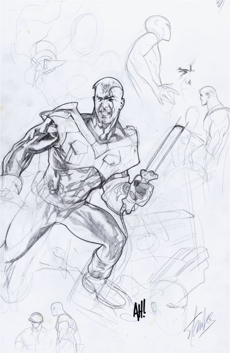 Adam Hughes Just Imagine Stan Lee's Superman Variant Cover Preliminary Original Art (DC, 2000). A very tight preliminary pencil sketch (with the character appearing almost identical to the final cover) for the Adam Hughes cover variant on this alt-universe title.