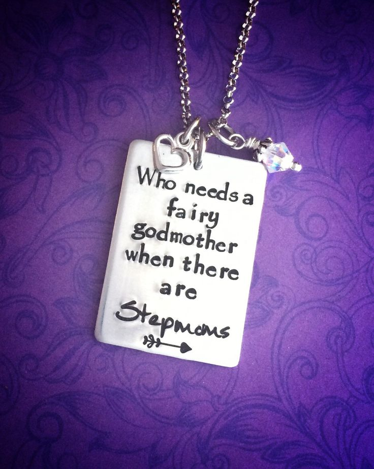 Necklace for the stepmom in your life - hand stamped necklace - fairy godmother - heart and crystal - gift for stepmoms - gift ideas by TheWagTaggery on Etsy https://www.etsy.com/listing/256472280/necklace-for-the-stepmom-in-your-life
