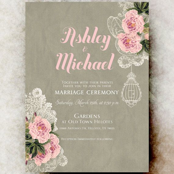 Peony Flowers Wedding Invitation  Lace by DivineGiveDigital, $21.00
