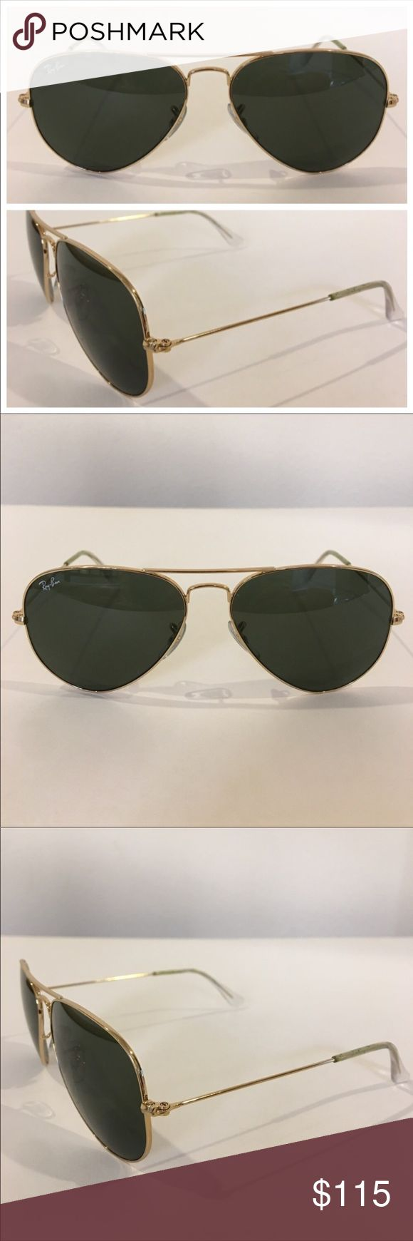 RAY BAN gold tone reflective aviator sunglasses Authentic RAY BAN sunglasses, made in Italy, gold tone metal, model RB 3025.  In preowned condition with very gentle scratches on the lens and slight discoloration on arms (see image.) Signature RB etched in