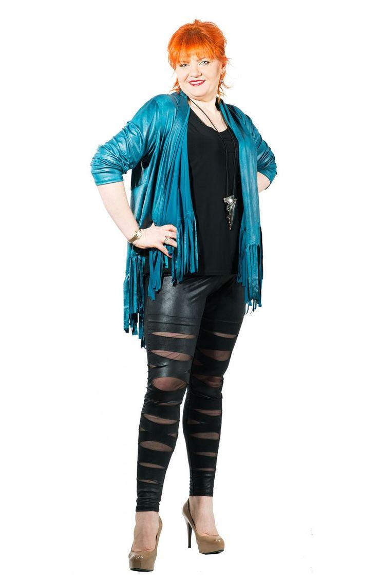 Modne skórkowe czarne legginsy z rozcięciami - Modne Duże Rozmiary