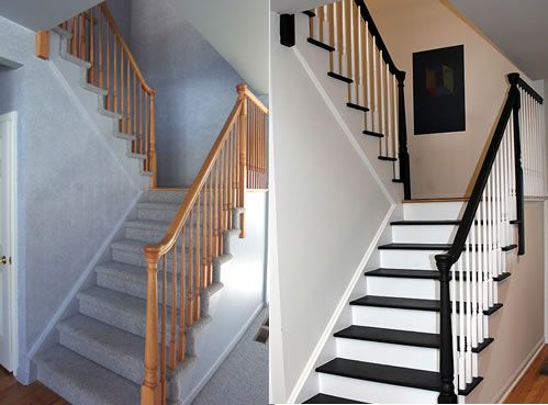 DIY painted stairs before and after I like that it is step by step AND shows how it looks against hardwood that is not a dark color. I do believe I will be doing this for my stairs!