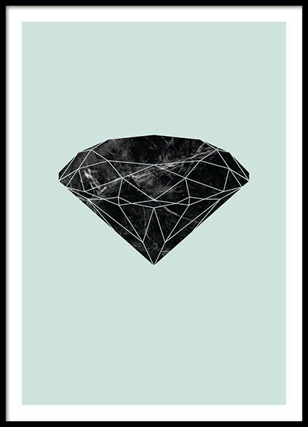Poster with a graphic diamond in dark marble on a green background. A very nice poster that fits perfectly in a modern interior design in any room of your home. We have more posters with diamonds in our Graphic-category. www.desenio.co.uk