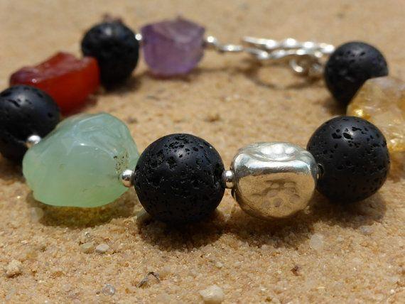 Chunky Gemstone Bracelet with Carnelian Amethyst by Lapideum