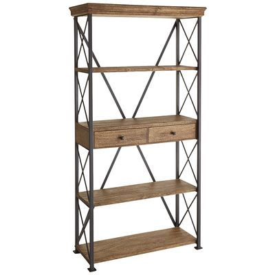 ronay rustic industrial wide bookshelf 2